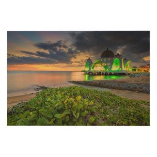 日没| Masjid Selatの間のMelaka ウッドウォールアート