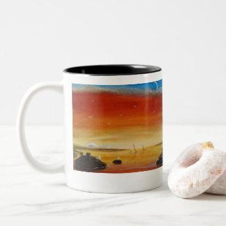日没Mtのパン屋の海景の海景のマグ ツートーンマグカップ
