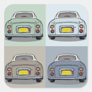日産・フィガロ車の正方形のステッカー スクエアシール