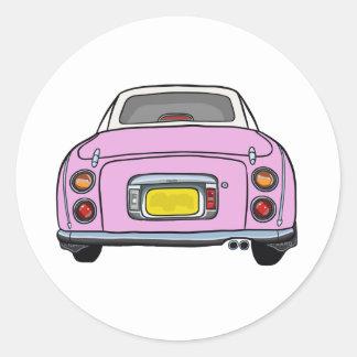 日産・フィガロ-ピンクのステッカー ラウンドシール