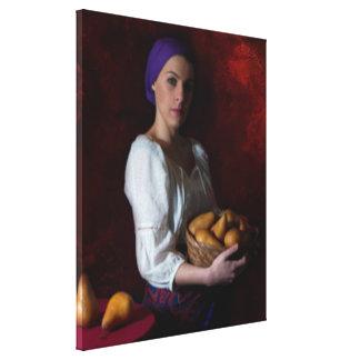 旧世界のイメージ-女性およびナシ キャンバスプリント
