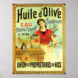 旧世界のオリーブ油のヴィンテージの調理 ポスター