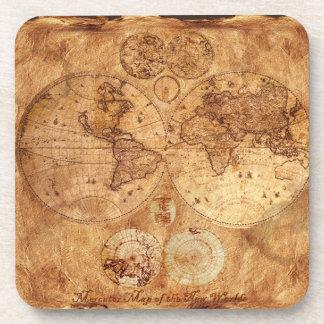 旧世界の地図のヴィンテージのコルクのコースター コースター