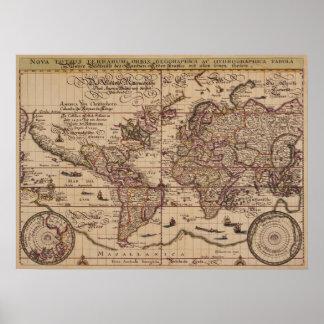 """""""旧世界の地図の16世紀のレプリカ ポスター"""
