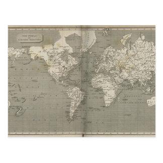 旧世界の地図1820年 ポストカード