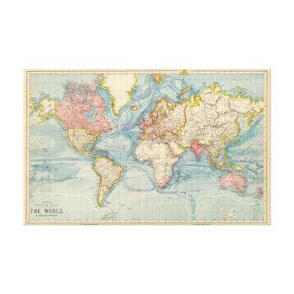 旧世界の地図1883のアンティークの地図 キャンバスプリント