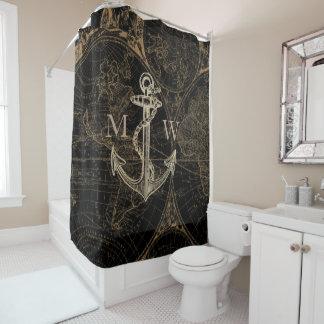 旧世界の旅行の航海のないかりのモノグラムの黒 シャワーカーテン