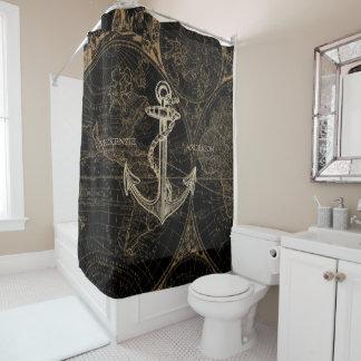 旧世界の航海のないかりは一流の黒を加えます シャワーカーテン