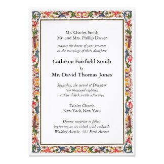旧式でイタリアンな花のボーダー結婚式招待状 12.7 X 17.8 インビテーションカード