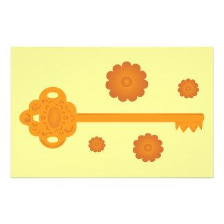 旧式でビクトリアンな黄銅の鍵 便箋