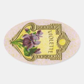 旧式でフランスのなすみれ色の香水のステッカー 楕円形シール