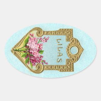 旧式でフランスのな香水の薄紫のステッカー 楕円形シール