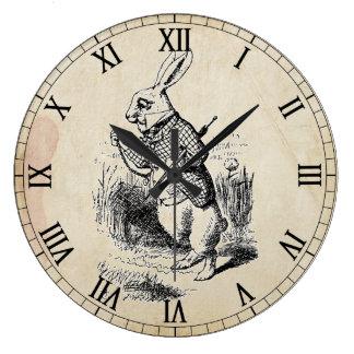 旧式で白いウサギのローマ数字の柱時計 ラージ壁時計