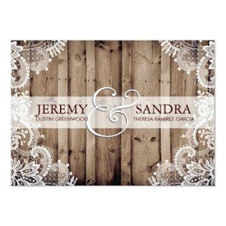 旧式で白いレースの結婚式招待状 カード