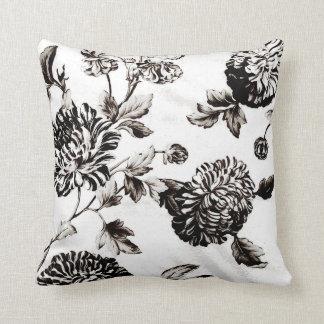 旧式で白く及び黒い植物の花のToile No.2 クッション