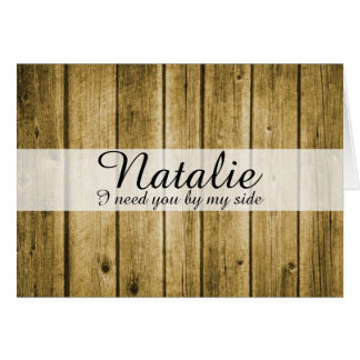 旧式で素朴で自然な木製の新婦付添人の要求 カード