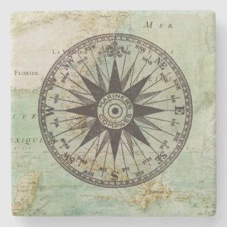旧式で航海のなコンパス及び地図の大理石のコースター ストーンコースター
