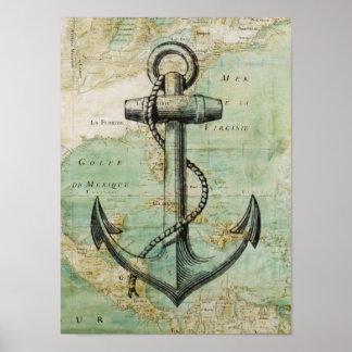 旧式で航海のな地図及びいかりポスター ポスター