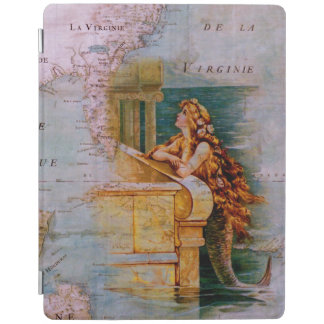 旧式で航海のな地図及び人魚のiPad 2/3/4カバー iPadスマートカバー
