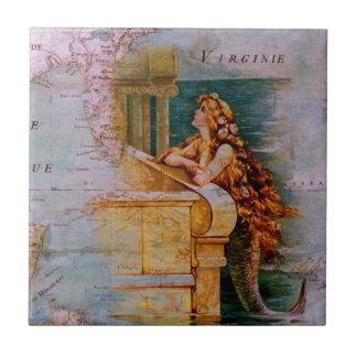 旧式で航海のな地図及び人魚 タイル