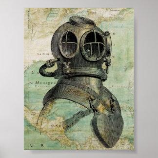 旧式で航海のな地図及び飛び込みのヘルメットポスター ポスター