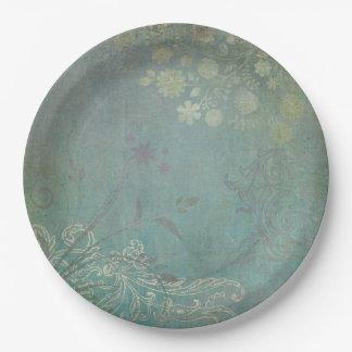 旧式で青い庭の紙皿 ペーパープレート