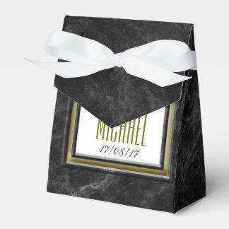 旧式で黒い大理石の結婚式の文房具 フェイバーボックス