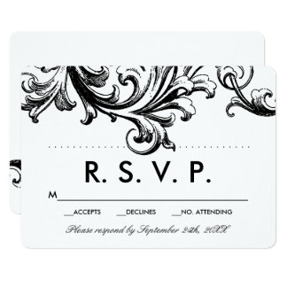 旧式で黒い花の結婚RSVP カード