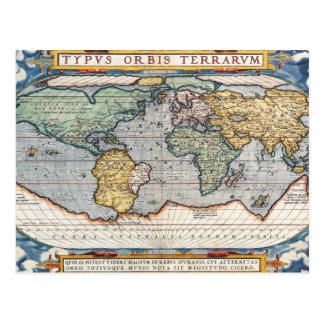 旧式で16世紀な世界地図 ポストカード