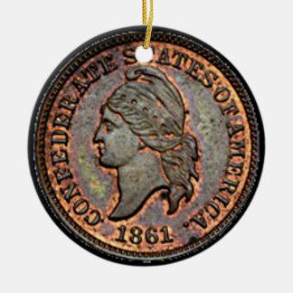 旧式なお金1861の銅の同盟のペニー セラミックオーナメント
