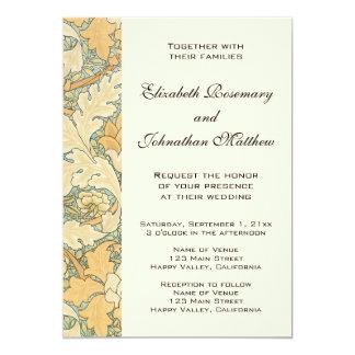 旧式なウィリアム・モリスの花柄の花の結婚 カード