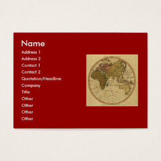 旧式なウィリアムFaden 1786の東半球の地図 名刺