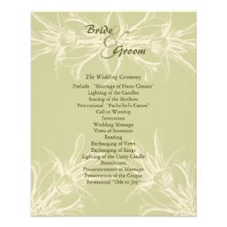 旧式なオリーブ色の花の結婚式プログラム チラシ