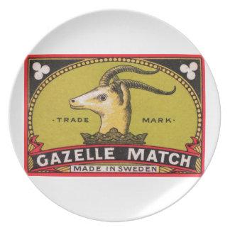 旧式なガゼルのスウェーデンのマッチ箱のラベル プレート