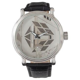 旧式なギターのバンジョーの顔のユニークなヴィンテージのスタイル 腕時計