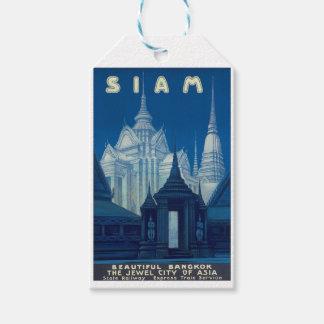 旧式なシャムバンコクの寺院旅行ポスター ギフトタグ