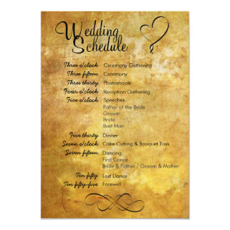 旧式なスタイルの結婚式のスケジュール カード