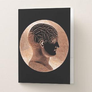 旧式なスタイルの金心の骨相学の頭部の頭蓋 ポケットフォルダー