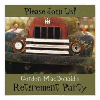 旧式なトラックの退職パーティーの招待 カード
