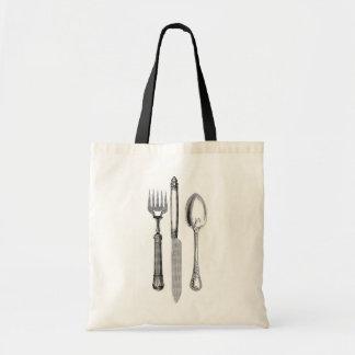旧式なナイフのフォークおよびスプーンのコンボの装飾 トートバッグ