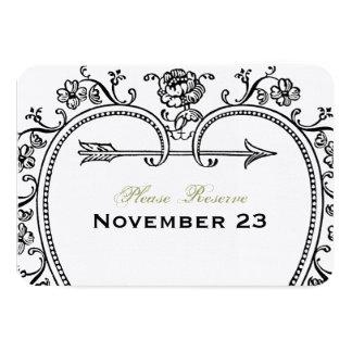 旧式なハートのフォーマルな保存日付 カード