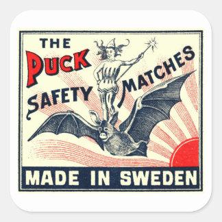 旧式なパックの乗馬のこうもりのスウェーデンのマッチ箱のラベル スクエアシール