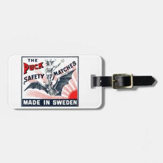 旧式なパックの乗馬のこうもりのスウェーデンのマッチ箱のラベル ラゲッジタグ