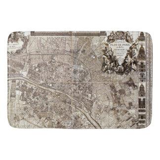 旧式なパリの地図の1728年の建築のヴィンテージフランス バスマット