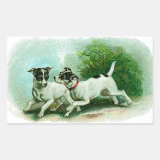 旧式なフォックステリア犬のイラストレーション 長方形シール