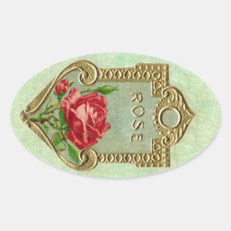 旧式なフランス人のばら色の香水のステッカー 楕円形シール