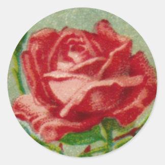 旧式なフランス人のバラの円形のステッカー ラウンドシール