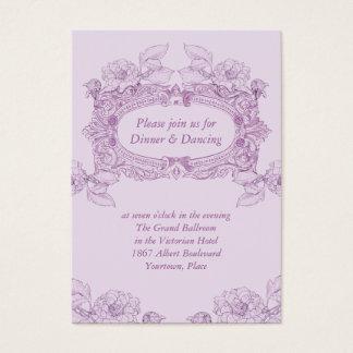 旧式なフレームの薄紫の結婚披露宴カード 名刺
