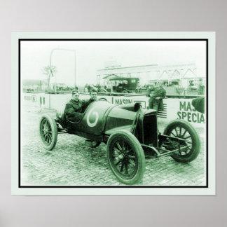 旧式なレースカーのn° 6 Indy 500の2人 ポスター