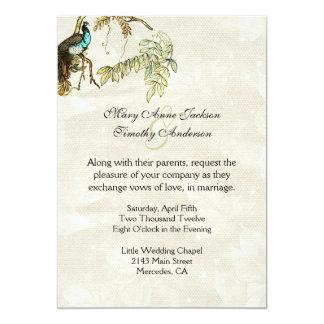旧式な一見のクジャクの結婚式招待状 カード